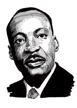 Portrait of Martin Luther King, Jr. on ScratchboardI'm proud to say that this won a spot in the Society of Illustrators Student Exhibition 2012.