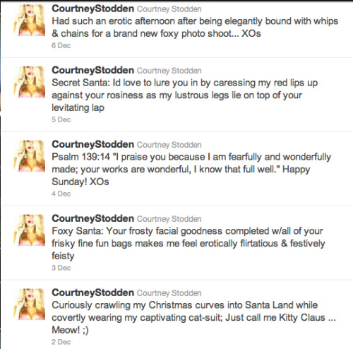 "I cannot get over the dichotomy of Courtney Stodden! Or at least her Twitter feed. It is unbelievable! As someone who's constantly avoiding all things Kardashian - it's hard to believe that that's where I draw the line on crappy TV, etc, but there you have it - you'd think I'd be avoiding the ""rising star"" that is Stodden. And yet, I can't look away! It's FASCINATING. I want to meet her marketing/PR team, interview her, know what thesaurus she uses for her tweets (or whoever ghost writes them). I'm in awe (mixed with shock, no doubt) of her momentum.  C'est vraiment fou!  Check out her latest photo shoot with Santa - it's a doozy - and tell me you're not just astounded that she exists. I really hope they send out one of these as their Christmas card. (Also, I worry that Santa doing these things to her will scar the children.)"