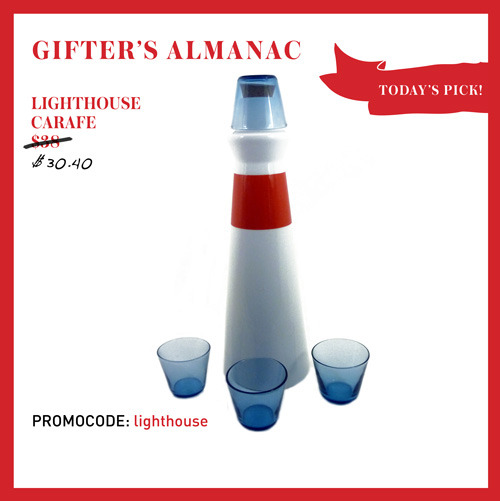 DECEMBER 20TH: TODAY'S PICK, LIGHTHOUSE CARAFE SET! We love east coast charm! This hand-blown glass carafe makes us want to  eat lobster and sip liquor from the blue glasses. Let this vessel be  your beacon for enjoyable times.   CLICK HERE TO SCORE 20% OFF