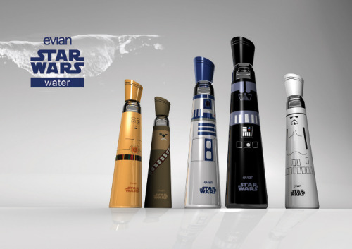 "Wow… Evian Star Wars Water = Sci Fi Geeks with way too much money. Also, a student spotlight fail.   ""Star Wars by Evian, is an innovative intergalactic take on design packaging. Shaped to be wielded like a lightsaber, and striking enough to distinguish which side you have chosen — Jedi or Sith, these glass water bottles will take you to a galaxy far far away."" Source : The Dieline.com  As much as this packaging tickles the fancy of both my inner design and sci-fi nerd/geek, I just can't help but ask myself if there really is a market for this outside of Halloween and costume parties. And if there isn't, then you've designed a very lovely, but incredibly pointless piece of packaging. Also, with every glass bottle being a different size it looks fairly expensive to produce as you'll miss out on any economies of scale. Unfortunately, this is one of those classic design mistakes I encounter in the print world, cool idea but what about the end product? Does this enhance the brand? Can the customer make money on it? These are the types of questions you need to keep in mind when you're out of design school and working with actual clients who have budgets, sales goals and profit margins to worry about.  From a green, sustainability and recycling perspective, I like that the bottles are glass as reuse is a nice feature, but I can't see how that would improve Evian's bottom line. I sincerely doubt that consumers would be refilling these with only Evian water. Since Evian is in the business of selling water, and as much of it as possible, this is an instant brand disconnect.  Now, you might be able to sell a memorabilia/collectibles company or a glass water bottle company on these concepts as there the reuse aspect is part of the inherent product value. But as plain old packaging, I'm sticking to my guns (erh light saber) and calling this 'Pointless packaging!'"