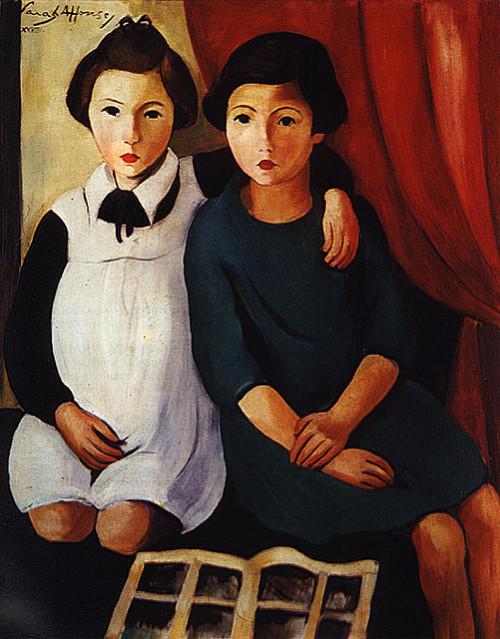 oldpainting:  Sarah Afonso, As Meninas, 1928 on Flickr. Click image for 532 x 680 size.