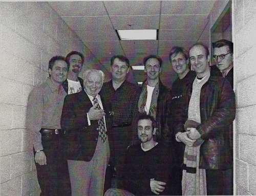 "March  2000: After a performance of ""The Noise of Time"" during its initial NY run, with  three of the marvelous actors from ""Complicité"" and two special guests: Isaac  Stern and — though he wasn't there in the flesh — Dmitri Shostakovich, whose  spirit permeated the whole of this remarkable theater piece, which included our  interpretation of his Fifteenth Quartet."