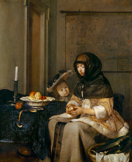 """Woman peeling apples"" painting by Gerard ter Borch). Dutch Baroque Era Painter (1617-1681) via poboh   Ter Borch's works are comparatively rare; about eighty have been catalogued. Six of these are at the Hermitage, six at the Berlin Museum, five at the Louvre, four at the Dresden Museum, three at the Getty Center[2], and two at the Wallace Collection. A pair of portraits are located at the Corcoran Gallery inWashington D.C., highlighted in 2010 by Blake Gopnik."