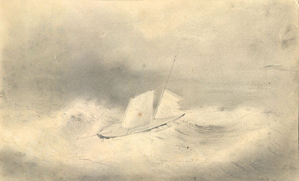 "Sea Gull in Heavy Seas by Alfred T. Agate On August 18, 1838, six United States Navy ships left Norfolk, Virginia on an expedition to the South Pacific. On board were 424 officers and crewmen and nine scientists, setting off on a mission to explore and survey the islands of that region, investigate their commercial potential, and assert American power. Lieutenant Charles Wilkes commanded the expedition. At the time of his appointment he was in charge of the Depot of Charts and Instruments at Washington, D.C., an organization now known as the Naval Observatory. Being a peaceful expedition of discovery, the ships were stripped of heavy armament and its space was given over to scientific exploration. The nine civilian scientists, referred to as the ""scientifics"" by the sailors, were tasked with observing and describing the resources of the various islands. These men were among the most able in their fields: James D. Dana, Minerologist, Charles Pickering, Naturalist, Joseph P. Couthouy, Conchologist, Horatio C. Hale, Ethnographer, William Rich, Botanist, William D. Brackenridge, Horticulturalist, Titan Ramsay Peale, Naturalist, and Joseph Drayton and Alfred Agate, the two artists, or ""draughtsmen."" Alfred Agate was about 23 years old, just beginning a career as an artist and miniaturist when the Navy hired him for the expedition. He had studied under Samuel F. B. Morse and later under John Rubens Smith, a landscape artist and engraver who made a niche for himself in American art history by traveling throughout the early republic, capturing and publishing images of the developing nation. Smith was a demanding teacher, as testified to by Charles Wilkes, who had studied with Smith some years earlier than Agate. In his own landscapes, Smith used a camera lucida for accuracy, something that Agate learned and used in his landscapes on the expedition. Little is known of Alfred Agate's background before the expedition. He was from Sparta, New York and reportedly first learned to draw from his older brother Frederick, who also studied under Smith. Several of his shipmates wrote appreciatively of his kind disposition. His health was fragile and apparently he suffered from bouts of illness during the voyage, though it did not prevent him from signing on, nor from making several interesting side excursions. Originally hired as a botanical illustrator, on the first leg of the voyage Wilkes assigned him to the ship Relief with William Rich, but eventually artistic services became so much in demand that Wilkes decreed that all scientists were to share both Agate and Drayton's time. In his memoirs, James Dana noted the accuracy of Agate's portraits. 1839: Wilkes - after waiting two weeks at Orange Harbor near Tierra del Fuego - left Sea Gull and Flying Fish to remain there for a few more days before joining him at Valpariso. The two tenders waited until 28 April before deciding to move on. The fall season was far advanced and the inhospitable weather was worsening. The ships departed together, but encountered a storm on leaving Cape Horn. Flying Fish returned to the harbor for shelter, but Sea Gull sailed on. Flying Fish lost sight of Sea Gull near midnight. Sea Gull was never seen again and eventually it was presumed lost in the storm with its commander, Passed Midshipman James W. E. Reid, two other officers, and fifteen men."