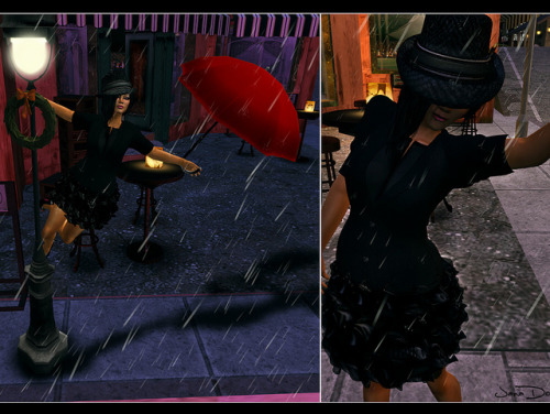 "#10  Singing in the Rain (duh)  I'm still featuring some With Love (again) Hunt items…mostly because I took this picture a WEEK ago and just found the time to photoshop it last night. :/ C'est la vie. Good thing it runs until January 6th!!! You still got time. I had to use the Holiday Lamp post again from {What Next}, basically because ""Singing In The Rain"" was my favorite musical growing up. And, Gene Kelly was (and still is) my favorite actor of that era. So I donned my fedora hat (from the hunt), put on a snazy dress (from the hunt), and threw on a suit jacket. Credits Skin - Belleza - Aiko Deep Tan Dress -(Kunglers)  Black dress *With Love (again) Hunt Item available until January 6th Jacket - J.H. Couture (Jada Humby Couture) *Ava* Suit Jacket (MESH) (BLACK)  Fedora Hat - Indyra Originals: Chadwick Fedoras *With Love (again) Hunt Item available until January 6th  Shoes - Mstyle RIVEA Pumps - Black  Hair - ""LoQ Hair"" Liqueur Black   Pose&Prop - {what next }Holiday Lamp Post *With Love (again) Hunt Item available until January 6th"