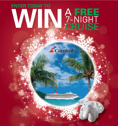 Only 12 days left to enter our WIN A FREE CRUISE CONTEST! Enter today for a chance to win a FREE 7-Night Carnival Cruise with a Balcony Suite! Happy Holidays!