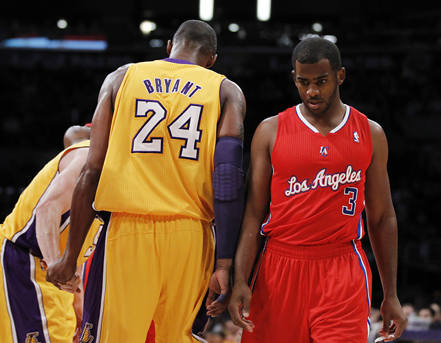 Kobe Bryant and Chris Paul, who were thisclose to being teammates, pass each other during last night's Lakers-Clippers game. Paul's Clippers cruised to a 114-95 victory. (AP) VIDEO HIGHLIGHTS: Clippers pound Lakers | Game StoryJENKINS: New-look Clippers show power shifting in LALOWE: Controversy over Paul's trade not going awayJENKINS: Renewed fight for L.A. in the Pacific Division