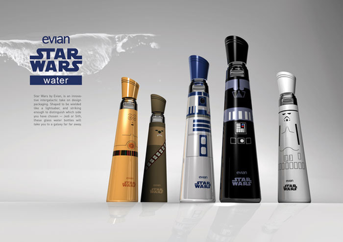 A Little Bit On The Star Wars Side: Star Wars Evian water bottle concept designs by Mandy Brencys. Shame these aren't real. (via The Dieline)