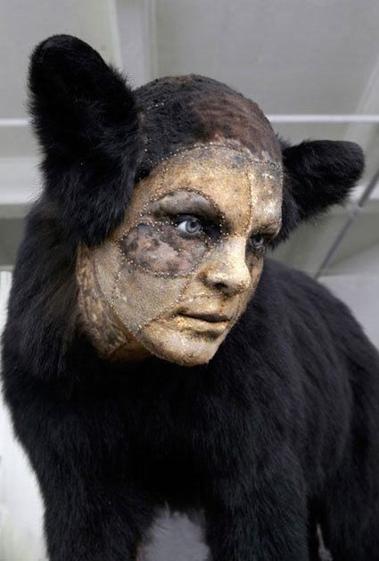 Kate Clark,Untitled 2008 Medium:bear hide, foam, clay, pins, thread, rubbereyes Size:27 x 42 x 16 inches