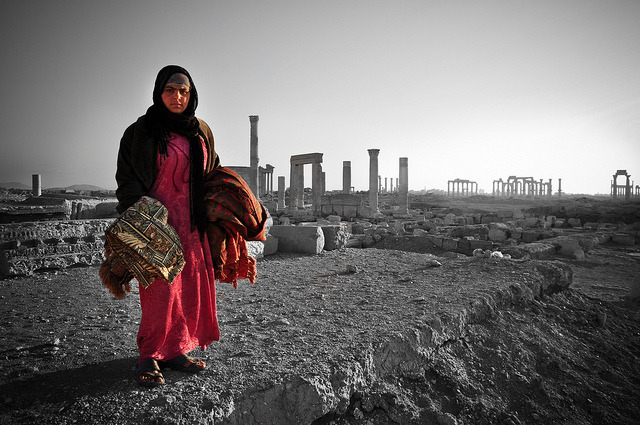 Palmyra Bedouin on Flickr.A Bedouin woman among the Palmyra ruins in Syria