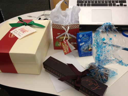 Worked from home on Friday and Monday, came back to gifts from co-workers today