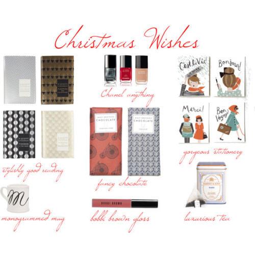 Christmas Wish List by citygirlinme on polyvore.com Bobbi Brown Sheer Color Lip Gloss, $23Chanel Le Vernis Nail Colour, $25Chanel Le Vernis Nail Colour, $25Chanel Le Vernis Nail Colour, £18Monogram Mug-M: Indigo: Lifestyle | chapters.indigo.ca, $8Harney & Sons Tea in Paris, $12Rifle Paper Co. - Assorted French Cards, $18Mast Brothers Chocolate Stumptown Coffee Chocolate Bar, $9Mast Brothers Chocolate Fleur De Sel Chocolate Bar, $9