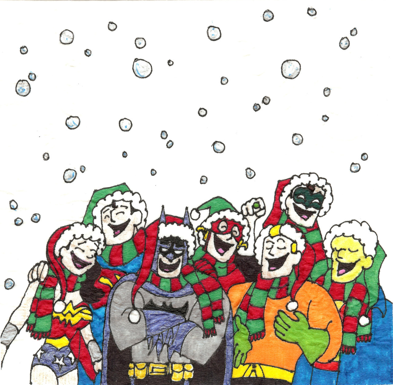 """Deck the Halls of Justice with campy Superheros!"" 2011 Christmas napkin art."