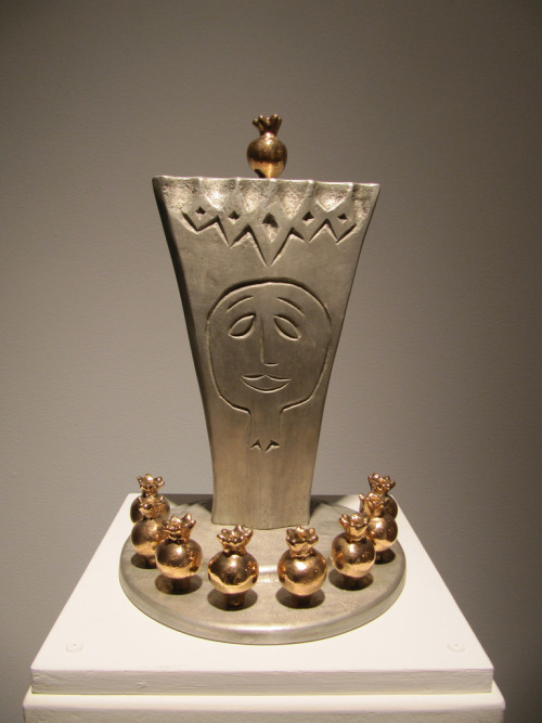 "LIKE THIS MENORAH? SEE THE NEWEST VERSION AT YUM, 6-8 TONIGHT FOR CANDLE LIGHTING, DONUTS, AND JAZZ HANUKKAH LAMP BY ODED HALAHMY The word ""Chanukah"" means dedication, and for nearly forty years Oded Halahmy has dedicated himself to honoring his heritage through dazzling Chanukah lamps. Mixing symbols from his Jewish and Iraqi background-pomegranates, chamsas, lions, and palm trees-Halahmy's brilliant creations invite us to contemplate the holiday and its meanings. Halahmy merges Middle-Eastern iconography, Jewish tradition, and Halahmy's personal journey into these unique sculptures.  Cast in part from part of a date palm."