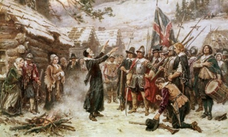 "The first ""War on Christmas"" was waged almost 400 years ago by our Puritan forefathers. The Pilgrims  who came to America in 1620 were outraged by Christmas, partially because it did not originate as a Christian holiday. The upper classes in  ancient Rome celebrated Dec. 25 as the birthday of the sun god Mithra. Beyond that, the Puritans considered it historically inaccurate to place  the Messiah's arrival on Dec. 25. They thought Jesus had been born  sometime in September. They felt so strongly about the holiday that in New England, they banned Christmas celebrations entirely. Christmas Day was only formally declared a federal holiday in 1870."