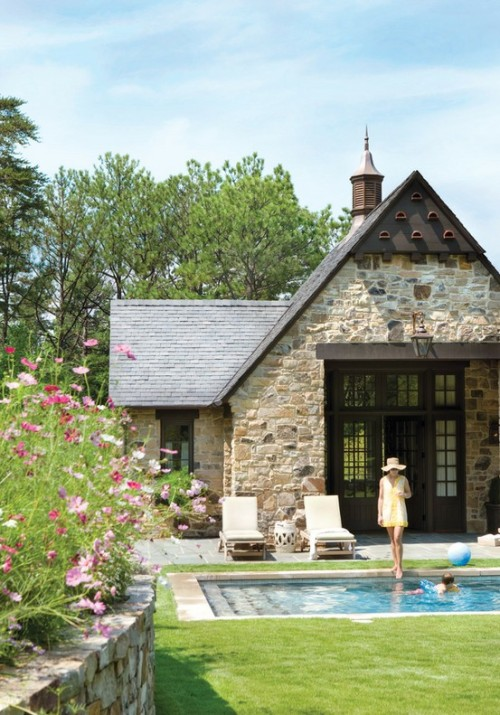 "This lovely stone house has a cottage garden backyard and an inground swimming pool (via ""It begins with a Design and ends with the Artisan"")"