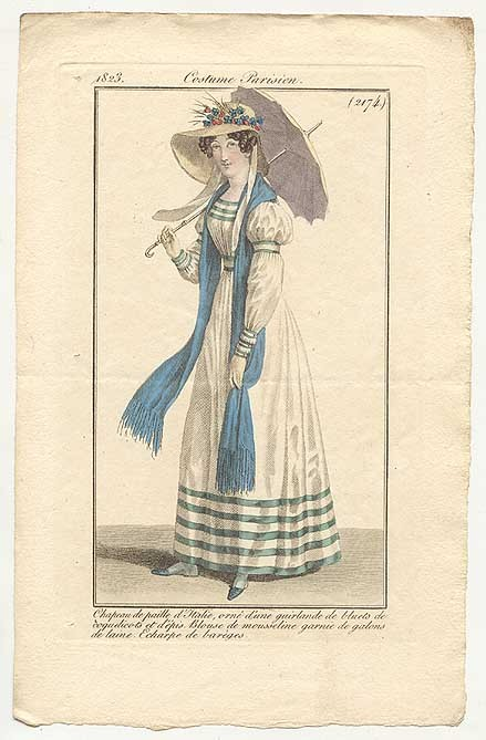 Journal des Dames et des Modes, 1823.  I'm really loving this outfit- the ribbon trim, the wonderful sleeves, and that parasol!