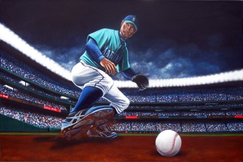 My latest painting. Ichiro chases one down.