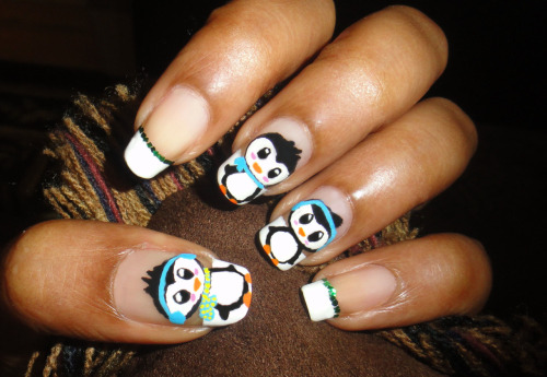 Winter Penguin Nail Art Click on the Link to see Tutorial.