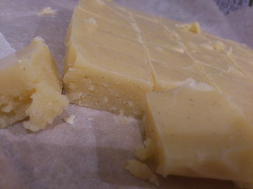 So I spent this afternoon making Parsnip Vanilla Fudge. It involved stirring CONSTANTLY for an hour, lots of sugar, lots of worrying (I've made fudge before than wouldn't set) but it worked wonderfully. The taste can only be described as 'weird' however. Resoundingly parsnippy. Looks like my family will be playing 'guess the flavour' this Christmas! I need to stop making recipes from this book really, but I love it too much!