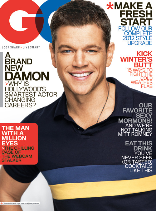 On Newsstands Now Our January issue, featuring Matt Damon in a Band of Outsiders polo and a Rogues Gallery necklace. Read the full cover story right now on GQ.com.