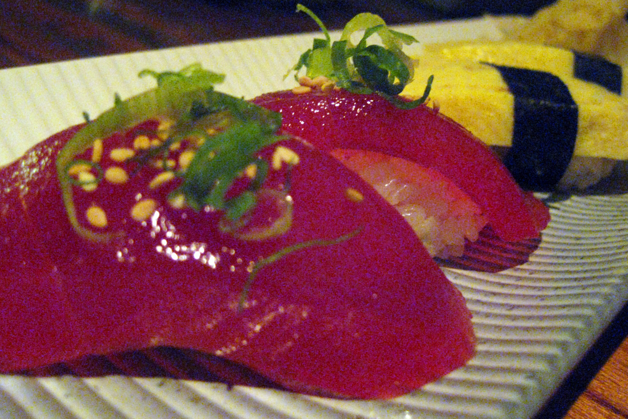 The sushi at Doraku was extremely fresh and delicious. The maguro zuke pictured here was some of the best I've ever tasted, but I test the authenticity of a sushi restaurant not by its fish, but by it's tamago sushi. Here, it was very good: sweet and a little warm with the right texture. Stamp of approval! Doraku 2233 Kalakaua Ave, Honolulu, Hawaii