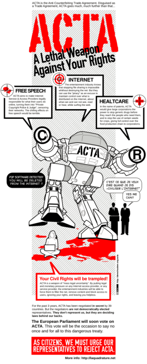 ACTA is a monster that destroys the freedom of the internet :(