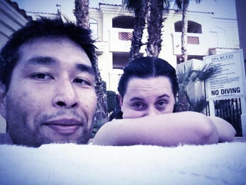 Amanda and I hanging out in the hot tub, so she can relax and get better from feeling under the weather, and me so I can soak away the day, read, and enjoy some red wine.