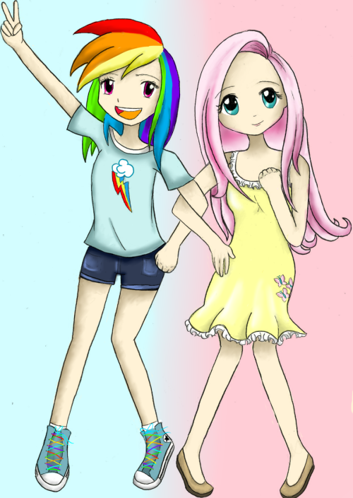 devouringdelights:  Human Rainbow Dash and Fluttershy by ~AST-R