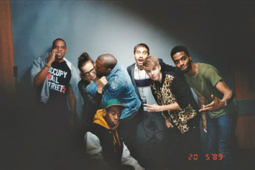 awesomepeoplehangingouttogether:  Jay-Z, Rashida Jones, Kanye West, Kid Aziz Ansari, Justin Bieber, Kid Cudi and Tyler the Creator