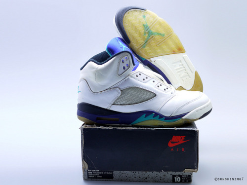 "dioview:  Sunshining7 - Nike Air Jordan V (5) - OG 1990 - White Purple Emerald ""Grape"" by sunshining7 on Flickr."