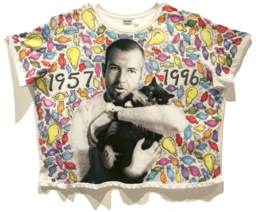 R.I.P. Felix Gonzalez-Torres. Airbrushed textile paint on 9XL King Size t-shirt. 51 in. x 39 in. 2011 SOLD