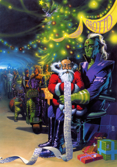 Steve Cook's  trawl through Tharg's old christmas cards continues, unearthing this gem:  A fun 2000AD Christmas card by Colin MacNeil in 1990. This was also used as the cover for prog #710.