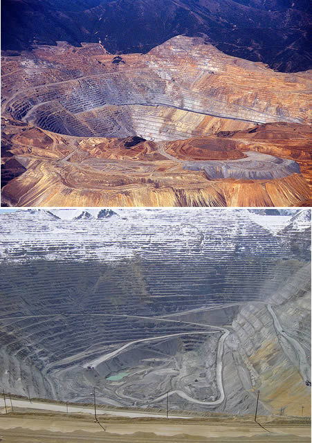10 Most Fascinating Holes on Earth Bingham Canyon Mine is the largest man-made excavation on earth. Also  called Kennecott Copper Mine, it is an open-pit mine located in Salt  Lake County, Utah. It is easily visible as a large layered multi-color,  barren protrusion on the side of the Oquirrh Mountains, which lie on the  west side of the Salt Lake Valley. It is currently the largest open-pit  mine in the world, and the world's largest man-made excavation. The  mine is 2½ miles across, and ¾ mile deep.Kennecott is the second  largest copper producer in the United States - providing approximately  15% of the country's copper needs. Minerals were first discovered in  Bingham Canyon in 1850, but exploitation did not begin until 1863. At  first, mining was difficult, but a railroad reached the canyon in 1873,  prompting massive settlement and extraction of the minerals. By the  1920s, 15,000 people of widely-varying ethnicity had settled in the  canyon. Large residential communities were constructed on the steep  canyon walls. Natural disasters were a common occurrence in the  heavily-settled canyon. The population declined rapidly as mining  techniques improved, and several of the mining camps began to be  swallowed up by the mine. By 1980, when Lark was dismantled, only  Copperton, at the mouth of Bingham Canyon and with a population of 800,  remained. Today, mining operations continue at full-swing in the mine,  and it is now the largest open-pit mine in the world. (Link)