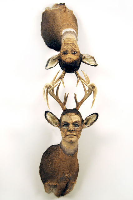 Kate Clark,It Depends,2009 Medium:Deer hide, antlers, clay, foam, thread, pins, rubber eyes Size:72 x 19 x 19.5 inches