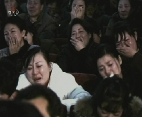 "meh: Coerced, Fake Mourning  ""At the Pyongyang National Theater, actors and actresses were photographed crying, effectively instructing the nation how to behave. The public grief had a goal, as the actors and actresses made clear as they urged the nation to ""turn sadness into strength and courage."""