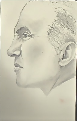 Face sketch in graphite.