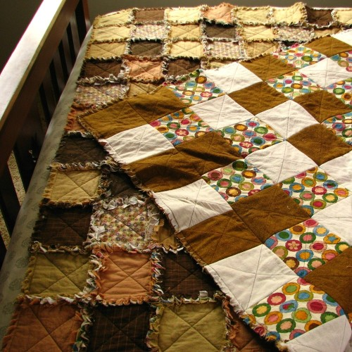 "sweetwhiteviolets:  Made some quilts like this for my daughters' beds and they are so soft. amongthegoblins:  ""Fallow Fields"" rag quilt, by Melanie J. Cook"