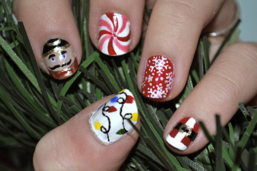 My nails this week! Nutcrackers, peppermints, snowflakes, santas, and lights to welcome Christmas!