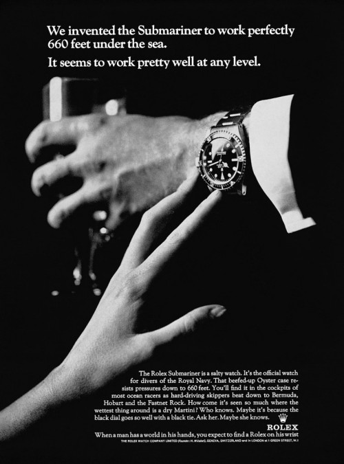 "1965 Rolex Submariner Ad | AD60 ""Ask her. Maybe she knows."" Hahaha. For a larger image, click here."