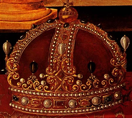 A close-up of the crown from the Armada Portrait  At Woburn Abbey