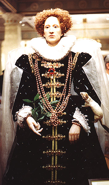 Wax figure of Elizabeth I based on the Ermine Portrait.  At Madame Tussaud's, London. Photograph by Lara E. Eakins