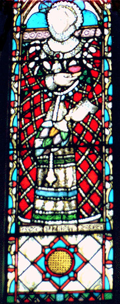 Stained glass window of Elizabeth At St. Mary's Church, Sudeley Castle;   Photograph by Lara E. Eakins