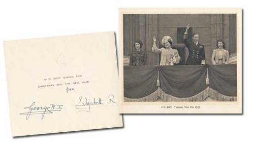 christmas card from king george vi and elizabeth, 1945. the photo is from v-e (victory in europe) day, 8 may 1945, and features the king and queen with the princesses elizabeth and margaret. and if you are lucky enough to have £995 ($1,559.38), you can buy me this card for christmas own this piece of history!