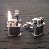 Cigarette-lighter cufflinks. Give the lady a light and blow her away