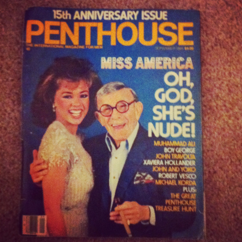 I don't know what's worse, the fact that I own a Penthouse from 1984, all the huge bushes inside, that I'm still trying to figure out what the great penthouse treasure hunt even is, or that my great grandmother gave me this when I was 19 along with a gay porn magazine….