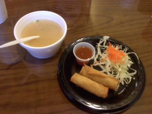miso soup & spring roles from Sakoa in Huntsville, Alabama.
