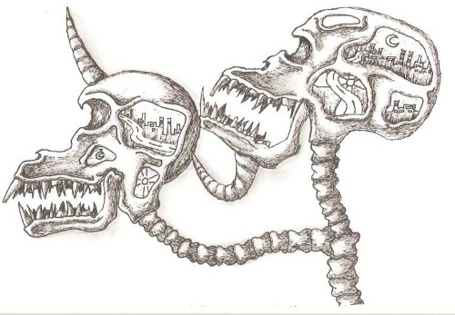 Conjoined Skulls with, yet again, a My-Gel pen. Shadowed with both pen and pencil(Fabre Castell)