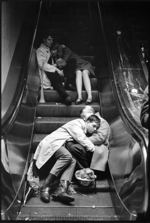 "burnedshoes:  © Leonard Freed, 1969, Grand Central at New Years Eve, NYC ""We will open the book. Its pages are blank. We are going to put words on them ourselves. The book is called opportunity and its first chapter is New Year's Day."" (Edith Lovejoy Pierce) Happy New Year! (find me on Facebook 