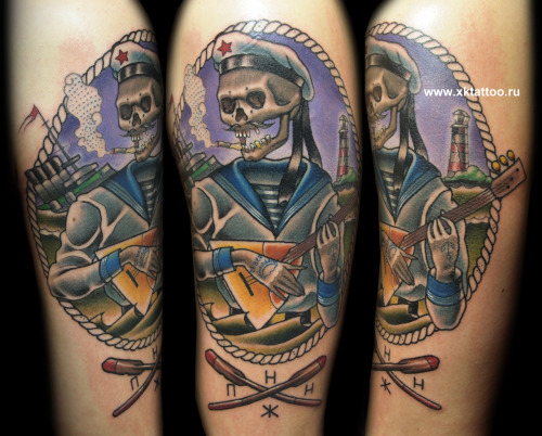 This is not a copy of Derek Nobbs art. This tattoo was inspired by his artwork.   This tattoo is based on Russian history.